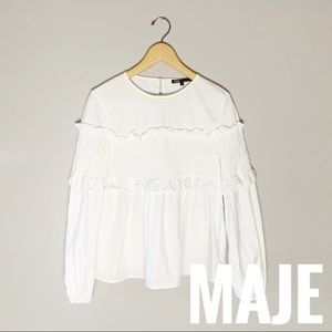 Maje blouse top with smock detail